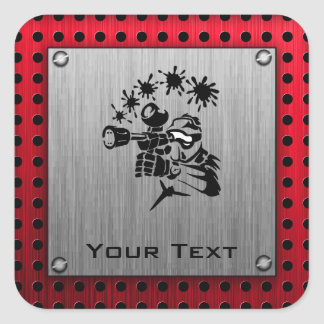Brushed metal look Paintball Square Sticker