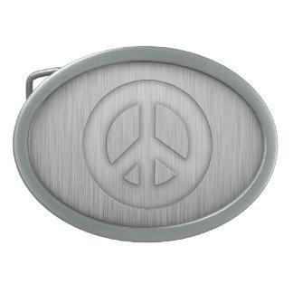 Brushed metal-look Peace Sign Belt Buckles