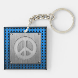 Brushed metal-look Peace Sign Keychain
