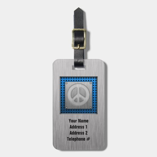 Brushed metal-look Peace Sign Luggage Tag