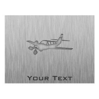 Brushed Metal-look Plane Postcard