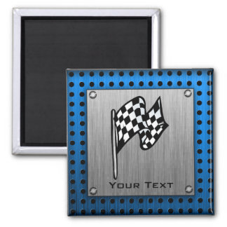 Brushed metal look Racing Flag 2 Inch Square Magnet