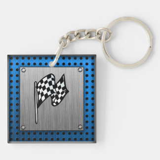 Brushed metal look Racing Flag Double-Sided Square Acrylic Keychain