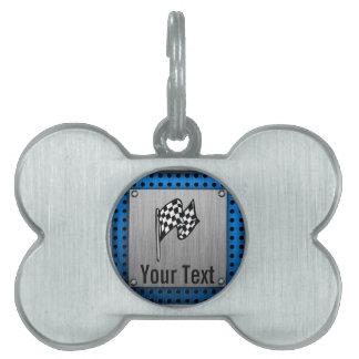 Brushed metal look Racing Flag Pet Name Tag