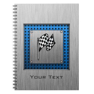 Brushed metal look Racing Flag Spiral Notebook