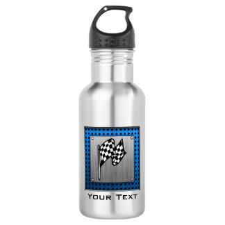 Brushed metal look Racing Flag Water Bottle