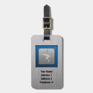 Brushed Metal-look Rollerblading Luggage Tag
