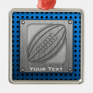 Brushed Metal-look Rugby Christmas Ornament