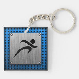 Brushed Metal look Running Keychain