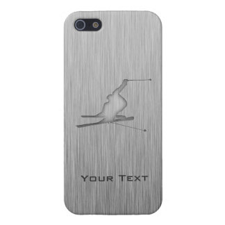 Brushed Metal-look Snow Skiing Covers For iPhone 5