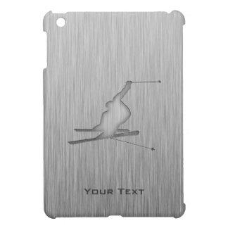 Brushed Metal-look Snow Skiing iPad Mini Covers