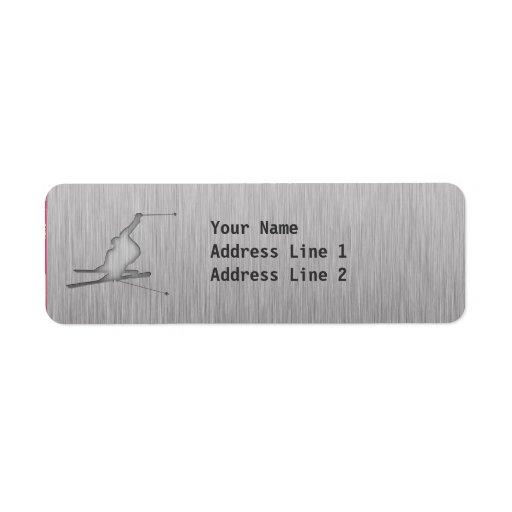 Brushed Metal-look Snow Skiing Custom Return Address Label