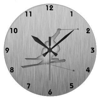 Brushed Metal-look Snow Skiing Large Clock