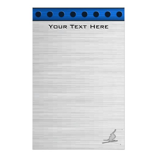 Brushed Metal-look Snow Skiing Customized Stationery