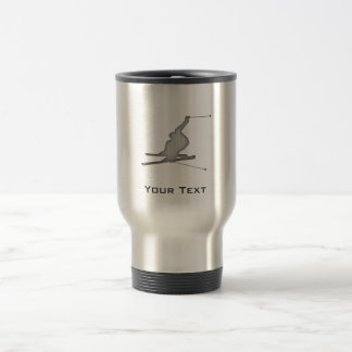 Brushed Metal-look Snow Skiing Travel Mug