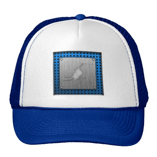 Brushed Metal-look Snow Skiing Trucker Hat