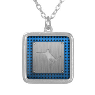 Brushed Metal-look Snowboarding Personalized Necklace