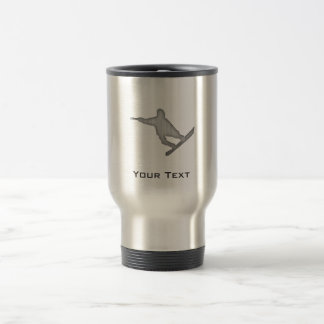 Brushed Metal-look Snowboarding Travel Mug