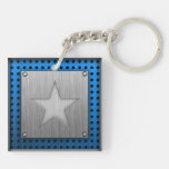 Brushed Metal-look Star Key Chains