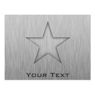 Brushed Metal-look Star Postcard