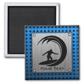 Brushed Metal look Surfing 2 Inch Square Magnet