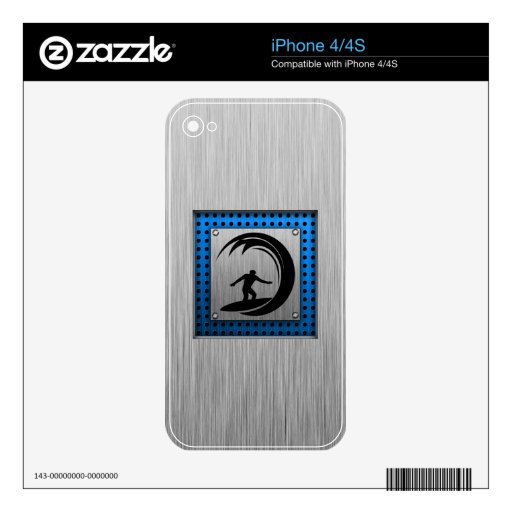 Brushed Metal look Surfing Decal For iPhone 4
