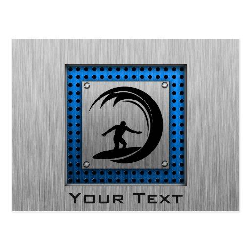 Brushed Metal look Surfing Post Card
