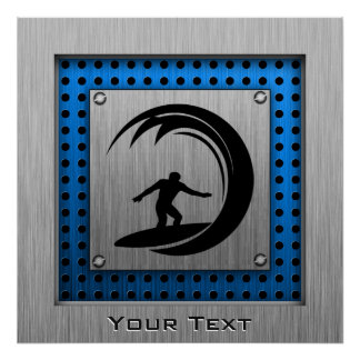 Brushed Metal look Surfing Poster