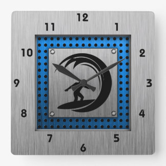 Brushed Metal look Surfing Square Wall Clock