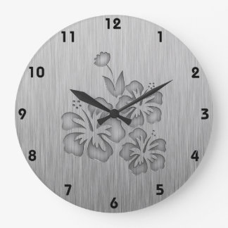 Brushed Metal-look Tropical Flowers Large Clock