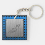 Brushed metal-look Trumpet Double-Sided Square Acrylic Keychain