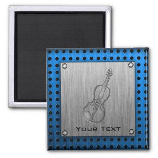Brushed metal-look Violin 2 Inch Square Magnet