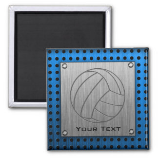 Brushed Metal-look Volleyball 2 Inch Square Magnet