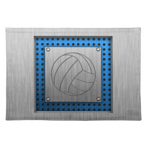 Brushed Metal-look Volleyball Cloth Placemat