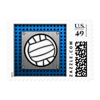 Brushed Metal look Volleyball Postage Stamp