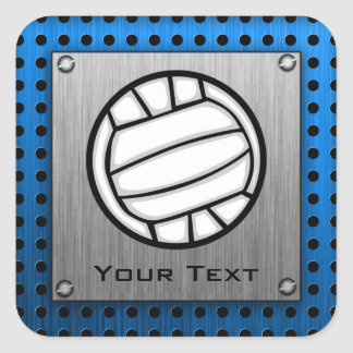 Brushed Metal look Volleyball Square Sticker