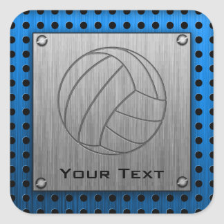 Brushed Metal-look Volleyball Square Sticker