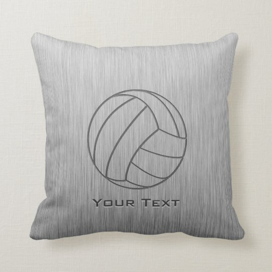 Brushed Metal-look Volleyball Throw Pillow