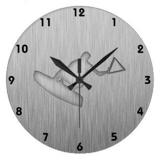 Brushed Metal-look Wakeboarder Large Clock