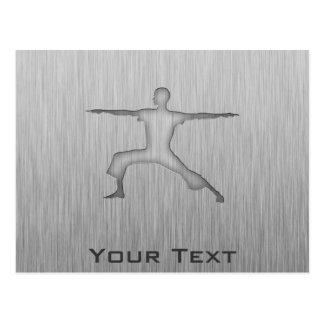 Brushed Metal-look Yoga Postcard