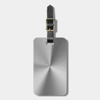 Brushed metal travel bag tags