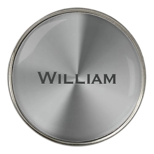Brushed metal personalized name golf ball marker