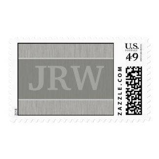 Brushed Metal: Silver Textured Monogram Postage