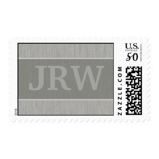 Brushed Metal: Silver Textured Monogram Postage