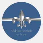Brushed Metal Style Silver Fleur de Lis Blue Classic Round Sticker