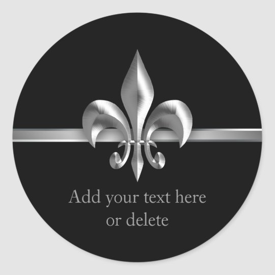 Brushed Metal Style Silver Fleur de Lis Classic Round Sticker