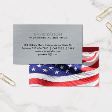 USA Themed Brushed Metal USA Flag | Patriotic Military Business Card