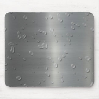 brushed metal waterdrops mouse pad