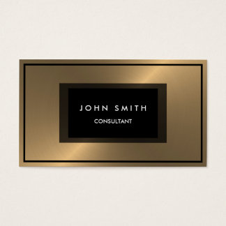 Brushed Metallic Gold Look, Two Sided Business Card