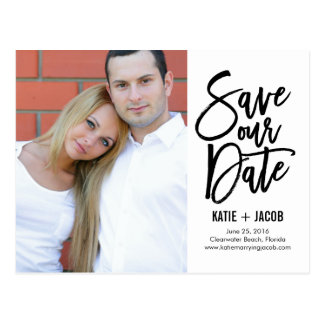 Brushed Modern Save The Date Postcard